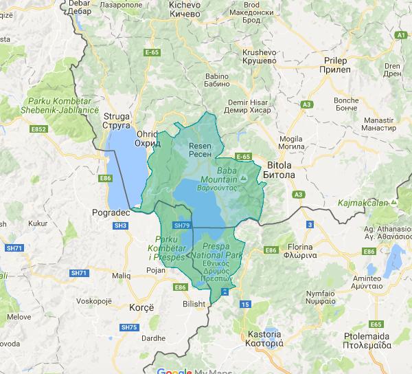 Map Prespa-Ohrid ecoregion