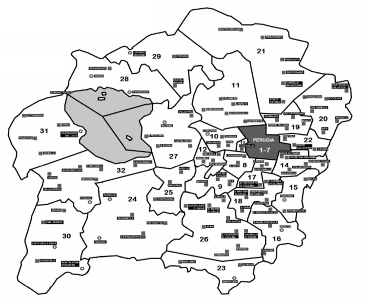 Mappa unità pastorali diocesi di Perugia-Città della Pieve