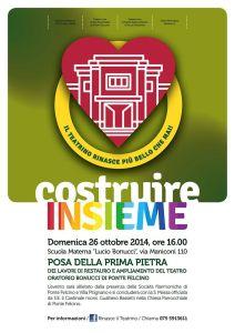 Volantino posa prima pietra del restauro del teatrino oratorio di Ponte Felcino