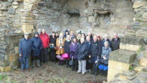 Yorkshire's civic societies standing in the ruins of Pontefract Castle.