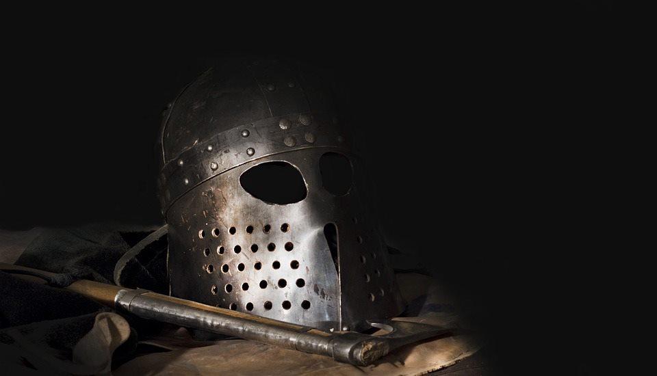 Viking helmet and bearded axe.
