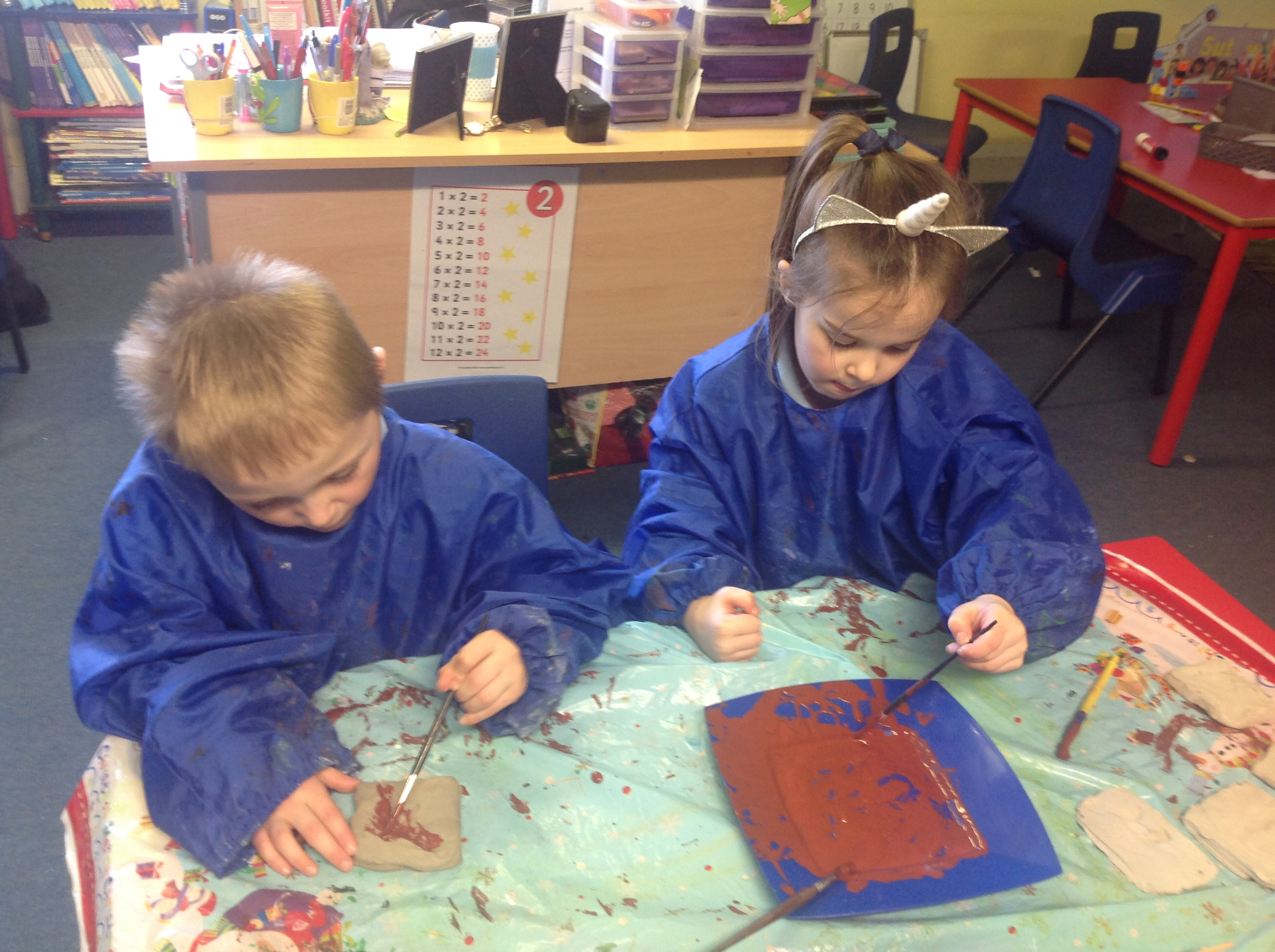Painting Our Fossil Tiles