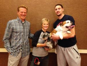 Klay Thompson and his dog Rocco with The Pooch Coach and Ric Bucher