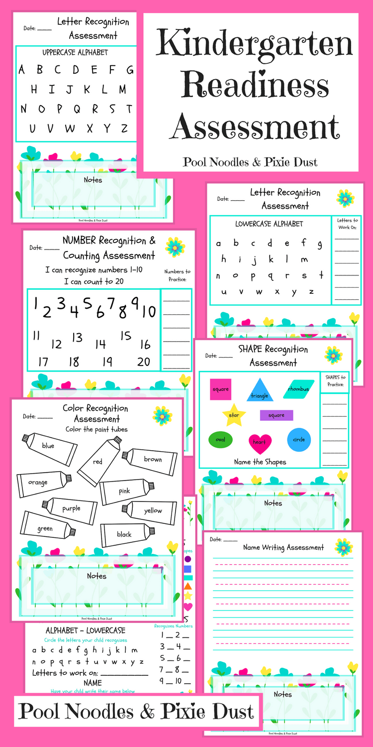 photograph about Kindergarten Readiness Checklist Printable identified as Kindergarten Readiness Analysis - Pool Noodles Pixie Dirt