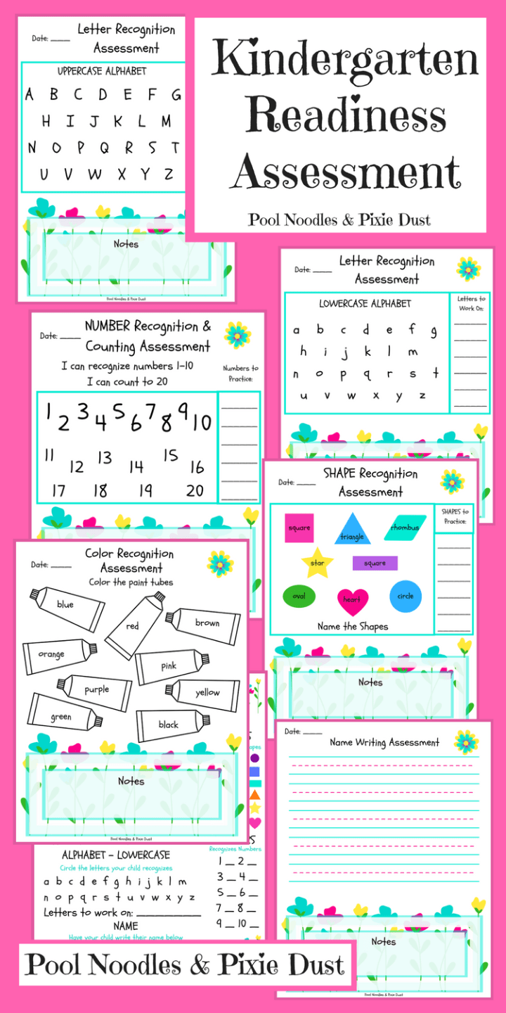 Kindergarten Readiness Assessment Pool Noodles Pixie Dust