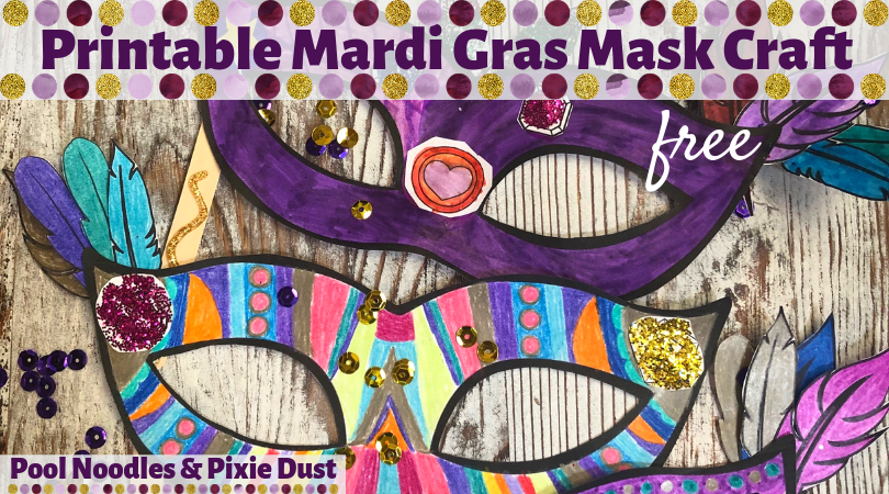 picture relating to Printable Mardi Gras Masks known as Printable Mardi Gras Mask Craft - Pool Noodles Pixie Dirt