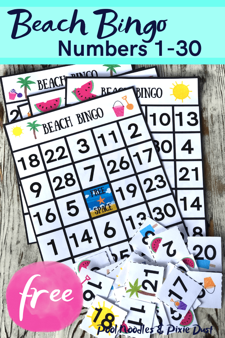 image about Printable Numbers 1 30 titled Seaside Bingo Match for Quantities 1-30 - Pool Noodles Pixie Dirt