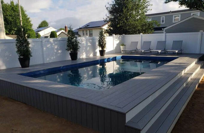 Ultimate Radiance Rectangle Pool Installed Semi Inground with Deck