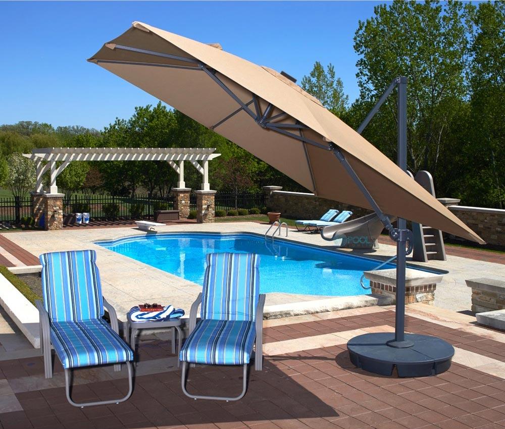 santorini ii fiesta cantilever umbrella with solar led lights 10ft square sunbrella acrylic beige nu6245