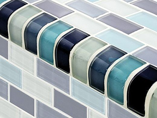 artistry in mosaics crystal series trim aqua blend glass tile trim gc82348t2