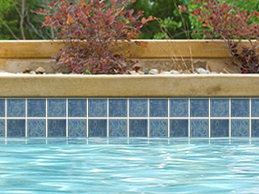 NPT Gemstone 6x6 Single Bullnose Blue GMS-BLUE SBN. National Pool Tile Harmony 3x3 Series Pacific Blue Hs341