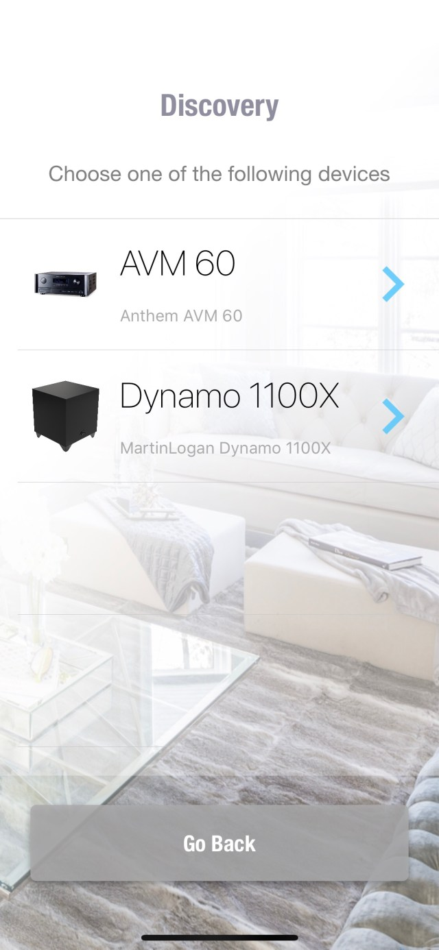 ARC automatically found compatible devices on my network including the Dynamo 1100X and Anthem's AVM 60 pre-pro.