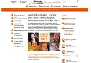 Übersicht verschiedener Teilnehmerinnen Feedbacks zu Summer School 2015