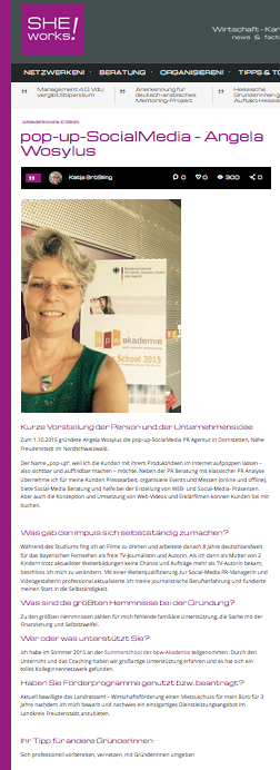 Interview Angela Wosylus M.A. von Katja Brösing, SHE works!