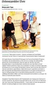 Social-Media Vortrag Angela Wosylus M.A. Bericht Schwarzwälder Bote 5.7.16