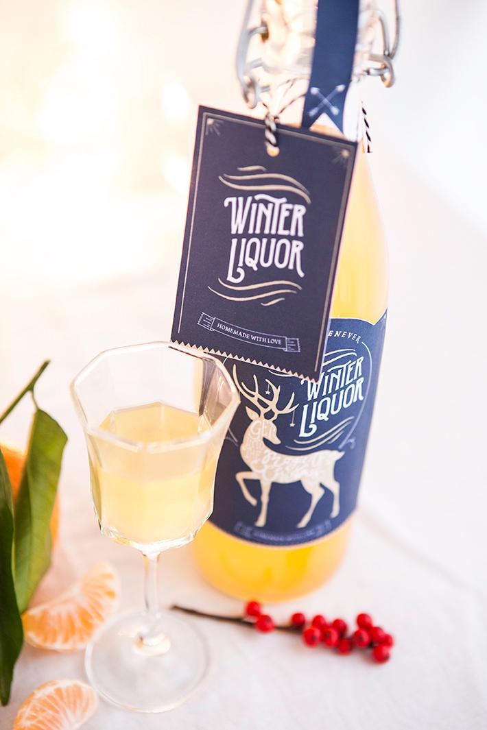Liqueur de Noël à la mandarine et printable #Christmas #Noël #gift #labels #printable