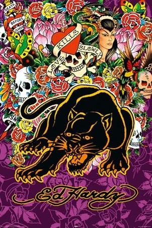 "Black Panther - Ed Hardy. 61cm x 91.5cm (24"" x 36"") Poster. Tattoo Art"