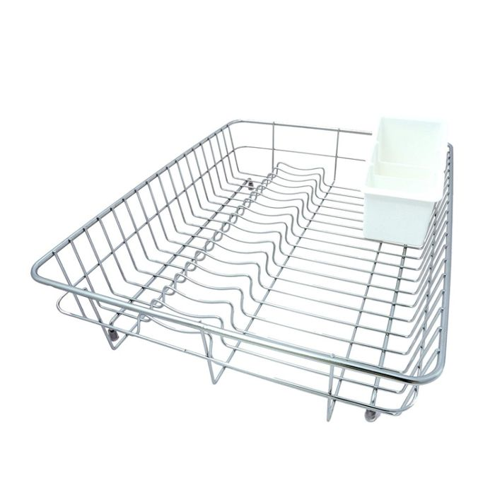 stainless steel dish drainer with a plastic spoon holder
