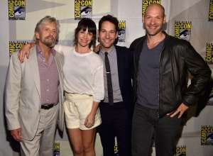 (l.-r.) Michael Douglas, Evangeline Lilly, Paul Rudd, and Corey Stoll