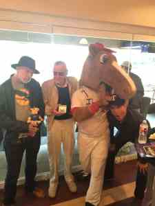 (l.-r.) Frank Miller, Stan Lee, Horse, and Todd McFarlane