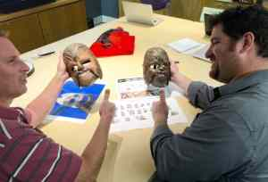 Here's another look at Todd [left] and Bill with the masks. The team usually receives early models of the toy to review the sculpt, and for Chewbacca the chin activation and sound effects, before production on the final toy is underway.