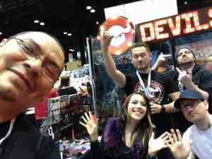 Manny with the Devil's Due Publishing crew: Josh Blaylock, Ash Maczko, Ashley Witter and Dave Music