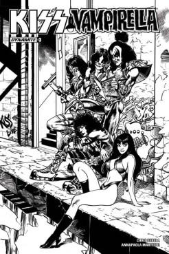 Kiss/Vampirella #3 (of 5) - B&W Incentive Cover by Roberto Castro