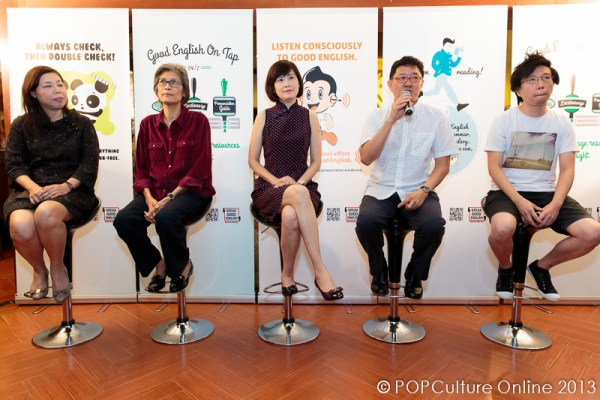 Ms Florence Ang, Director, College Service; Ms Judith D'Silva Deputy Director (Plans Department), NEXUS Ministry of Defence; Mrs Wai Yin Pryke, Principle of English Language Institute of Singapore; Mr Goh Eck Kheng, Chairman, Speak Good English Movement; Mr Kenny Leck, Co-Founder and Co-Owner of Books Actually.