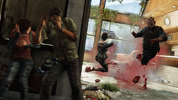 the last of us review ellie and joel taking cover