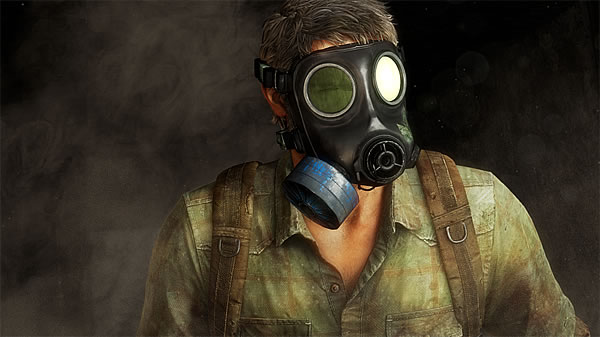 the last of us review joel with gasmask