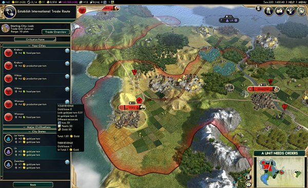 Civ V Brave New World Trade Routes Screen Shot
