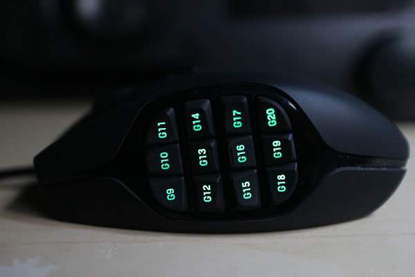 Logitech G600 MMO Gaming Mouse Side Buttons