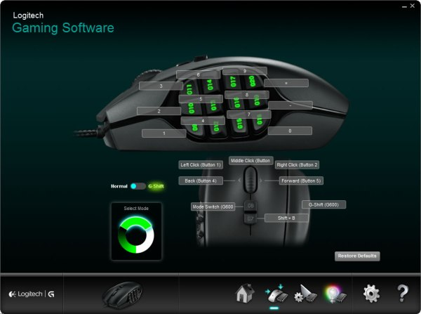 Logitech G600 MMO Gaming Mouse Software Screen Shot
