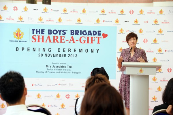 Guest of Honour, Mrs. Josephine Teo, Senior Minister of State for Finance and Transport and Member of Parliament for Bishan-Toa Payoh GRC, sharing a few words at the BBSG 2013 Opening Ceremony.