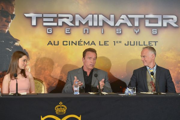 PARIS, FRANCE - JUNE 19:  (L-R) Actors Emilia Clarke and Arnold Schwarzenegger and Director Alan Taylor attend the France Press Junket of 'Terminator Genisys' at the Hotel Four Season Georges V on June 19, 2015 in Paris, France.  (Photo by Dominique Charriau/Dominique Charriau/Getty Images for Paramount Pictures) *** Local Caption *** Emilia Clarke; Arnold Schwarzenegger; Alan Taylor