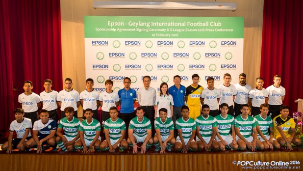 Mr Ben Teng, Ms Tin Pei Ling and Mr Toshimitsu Tanaka with the rest of the Geylang International FC SLeague Team Players
