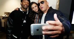 """LOS ANGELES, CA - NOVEMBER 12:  Actor Vin Diesel (R), actress Nina Dobrev and rap artist Ty Dolla Sign pose for a selfie at the LA fan event of the Paramount Pictures title """"xXx: Return of Xander Cage"""" at Regal LA Live on November 12, 2016 in Los Angeles, California.  (Photo by Jonathan Leibson/Getty Images for Paramount Pictures International) *** Local Caption *** Vin Diesel; Nina Dobrev; Ty Dolla Sign"""