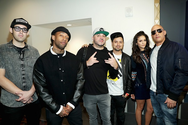 "LOS ANGELES, CA - NOVEMBER 12: (L-R) Musician Lex Larson, rap artist Ty Dolla Sign, DJ Felli Fel, musician Louie Rubio, actress Nina Dobrev and actor Vin Diesel attend the LA fan event of the Paramount Pictures title ""xXx: Return of Xander Cage"" at Regal LA Live on November 12, 2016 in Los Angeles, California. (Photo by Jonathan Leibson/Getty Images for Paramount Pictures International) *** Local Caption *** Lex Larson; Ty Dolla Sign; DJ Felli Fel; Louie Rubio; Nina Dibrev; Vin Diesel"