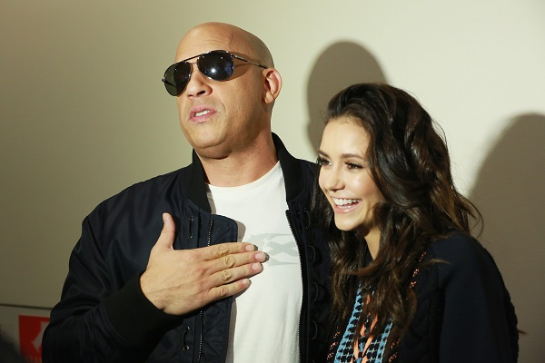 "LOS ANGELES, CA - NOVEMBER 12: Actor Vin Diesel and actress Nina Dobrev attend the LA fan event of the Paramount Pictures title ""xXx: the Return of Xander Cage"" at Regal LA Live on November 12, 2016 in Los Angeles, California. (Photo by Jonathan Leibson/Getty Images for Paramount Pictures International) *** Local Caption *** Vin Diesel; Nina Dobrev"