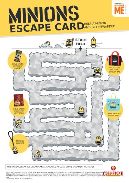 Cold Stone Creamery Minion Escape Activity Card