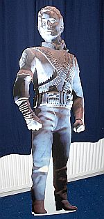Six-foot Michael Jackson cardboard replicas of the statue were  also used.