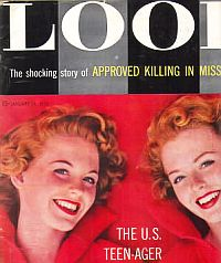 "A portion of the January 24, 1956 cover of Look magazine showing ""Approved Killing"" story tagline."
