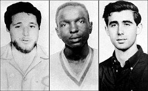 Michael Schwerner, James Chaney and Andrew Goodman – the three civil rights workers who were murdered in Mississippi, June 1964. FBI photos.