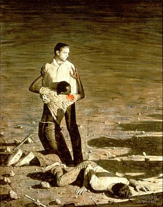 "Rockwell's ""Southern Justice"" painting of 1965, also known as ""Murder in Mississippi,"" depicting the killings of three civil rights workers murdered in June of 1964."