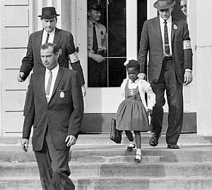 Ruby Bridges exiting the William Frantz school in New Orleans, November 1960, with U.S. marshals.