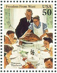 "1994 U.S. postage stamp for Norman Rockwell's ""Freedom From Want."""