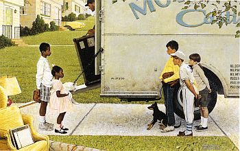 "Norman Rockwell's ""New Kids in the Neighborhood"" ran as full two-page centerfold in Look magazine, May 17, 1967."