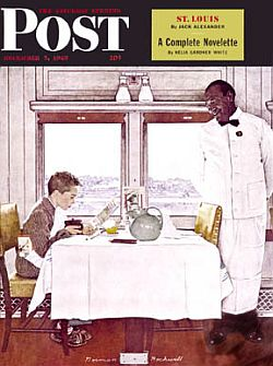 "Dec 7 1946: ""NY Central Diner,"" Saturday Evening Post cover by Norman Rockwell."