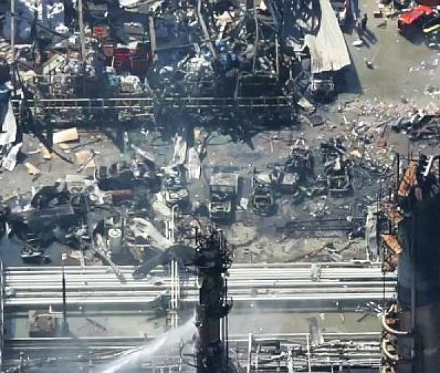 Aerial View Of Blast Fire Damage At Bps Texas City Texas Refinery Sometime After