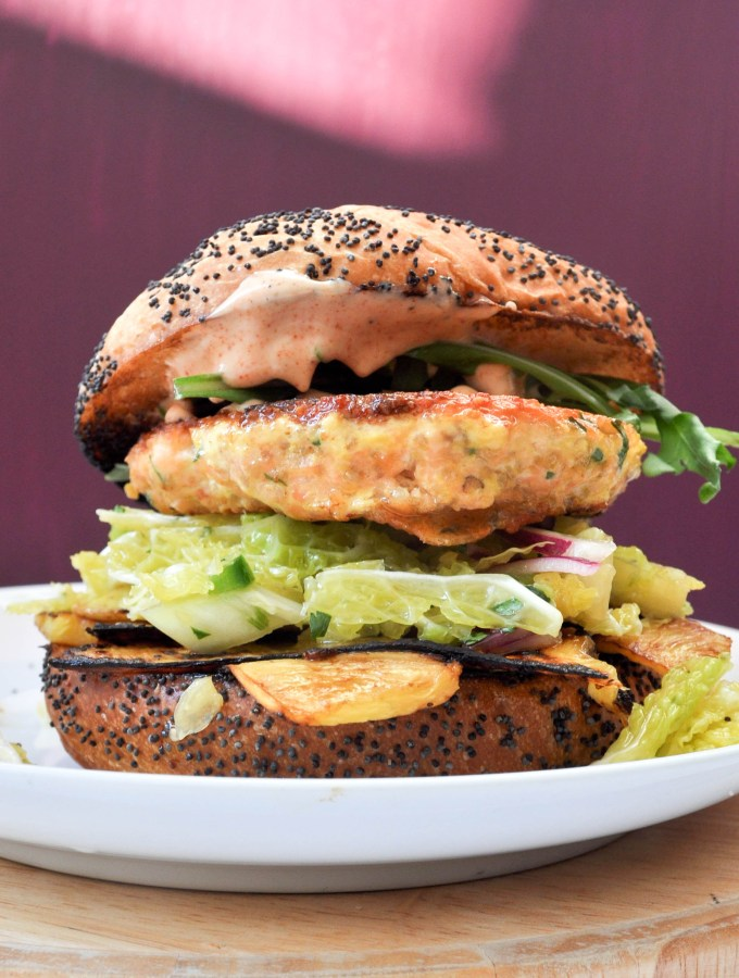 Salmon Burgers with Grilled Pineapple + Jalapeño Slaw